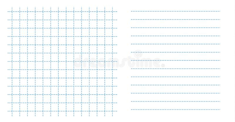 Set square grid small notebook sheet paper art blue color in dotted line and horizontal lines template stock illustration