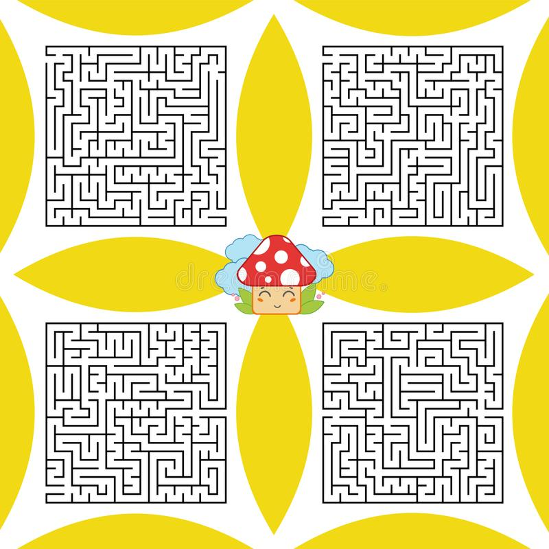 A set of square labyrinths. A game for children and adults. Simple flat vector illustration. A set of square labyrinths. A game for children and adults. Simple royalty free illustration