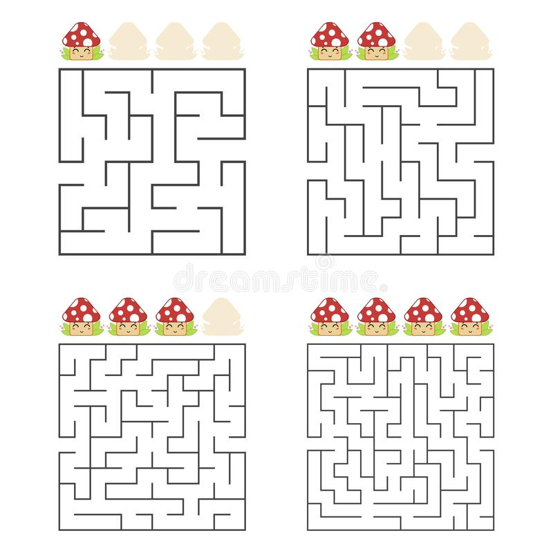 A set of square mazes. Four levels of difficulty. Cute mushrooms. Game for kids. One entrances, one exit. Labyrinth conundrum. Flat vector illustration vector illustration