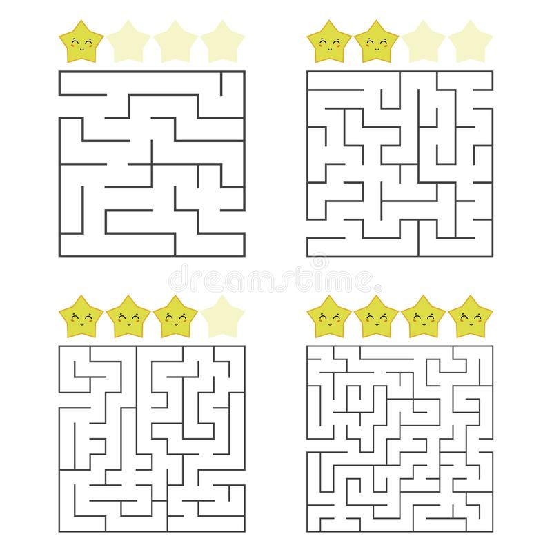 A set of square mazes. Four levels of difficulty. Cute stars. Game for kids. Puzzle for children. One entrances, one exit. Labyrinth conundrum. Flat vector vector illustration