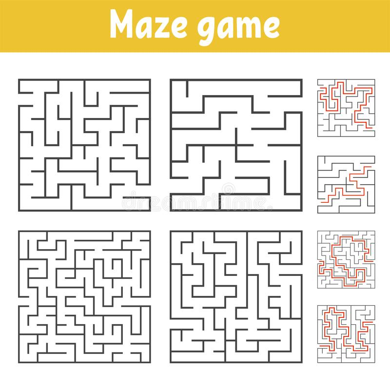 A set of square mazes of various levels of difficulty. Puzzle for children. One entrances, one exit. Labyrinth conundrum. Flat. Vector illustration isolated on vector illustration