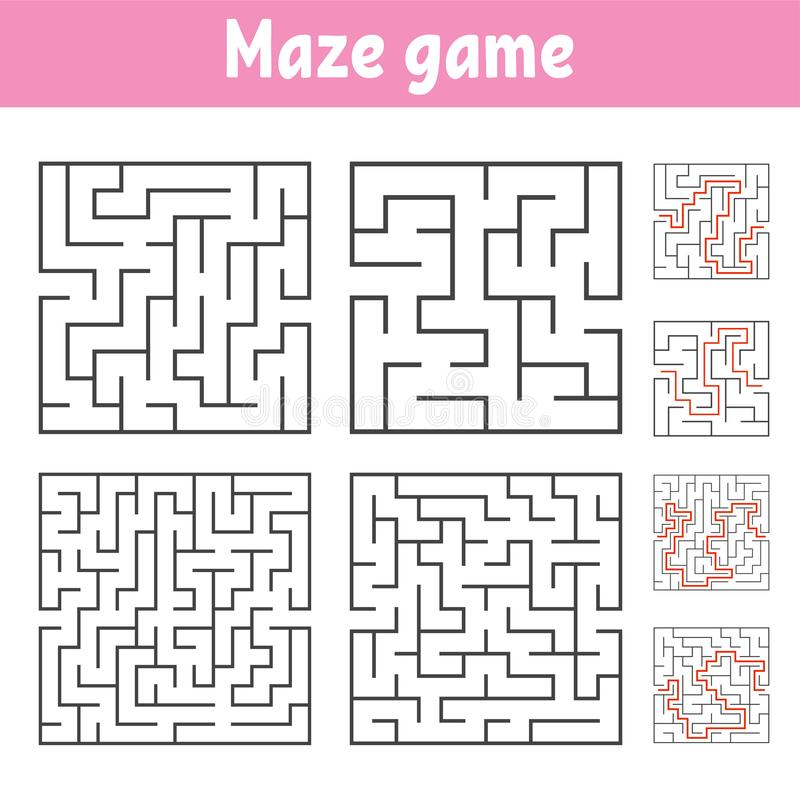 A set of square mazes of various levels of difficulty. Puzzle for children. One entrances, one exit. Labyrinth conundrum. Flat. Vector illustration isolated on royalty free illustration