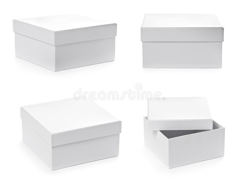 Set Of Square Pasteboard Gift Boxes Stock Photo