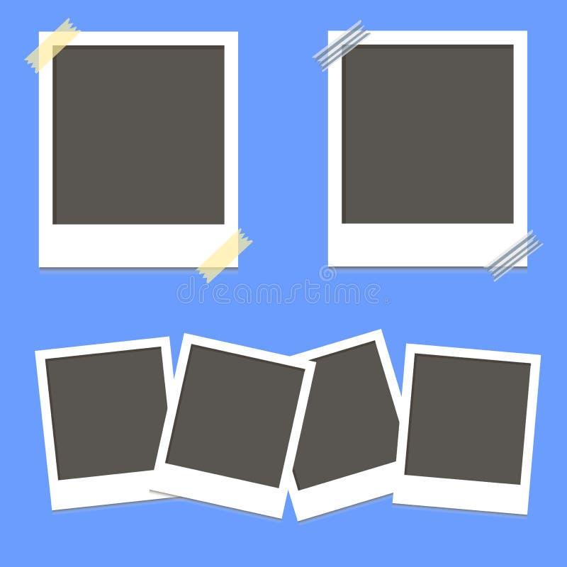 Set of square photo frames on sticky tape on blue background illustration.  royalty free illustration