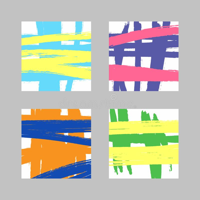 Set of square templates with colour brush strokes. Sketch, grunge, watercolor, paint. royalty free illustration