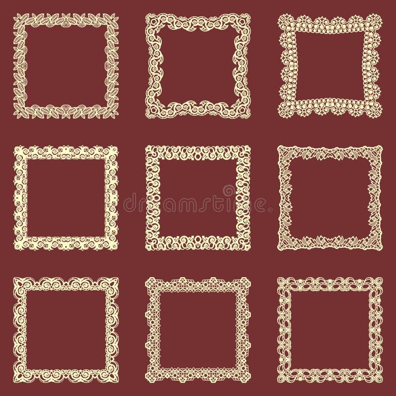 Set of square vintage frames background. Vector design elements that can be cut with a laser. A set of frames made of dec vector illustration