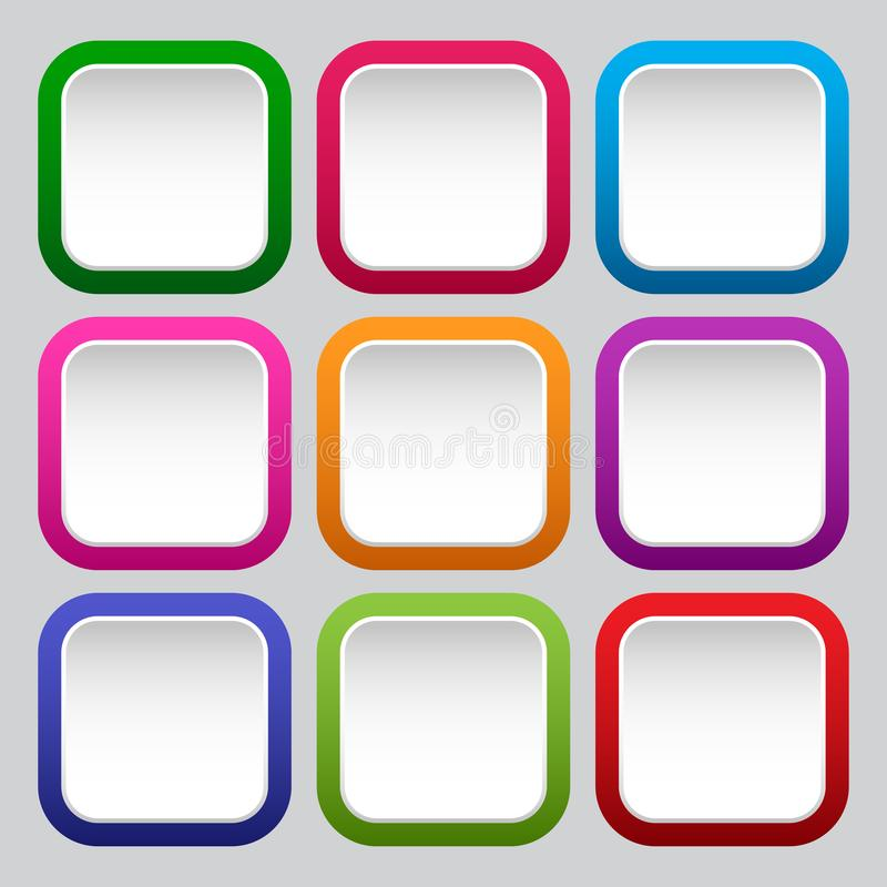 Set of square white buttons with colorful borders. Vector. Illustration vector illustration