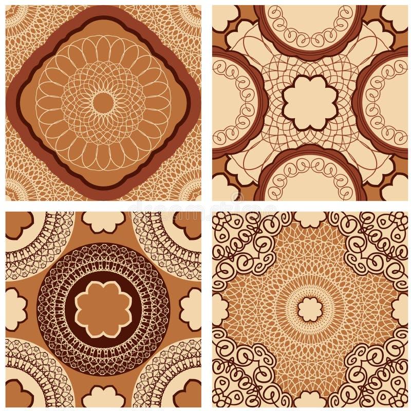 Set of squared backgrounds - ornamental seamless patterns vector illustration