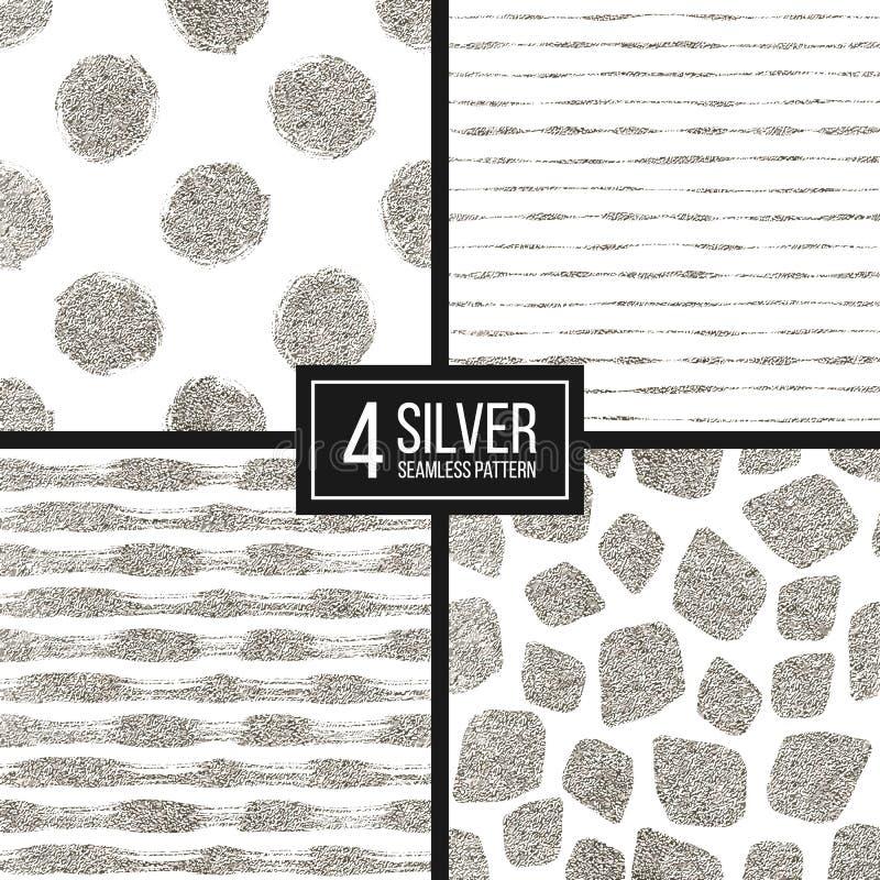 Set srebnej błyskotliwości wzoru bezszwowi lampasy, polek kropki, mozaika punkty ilustracja wektor