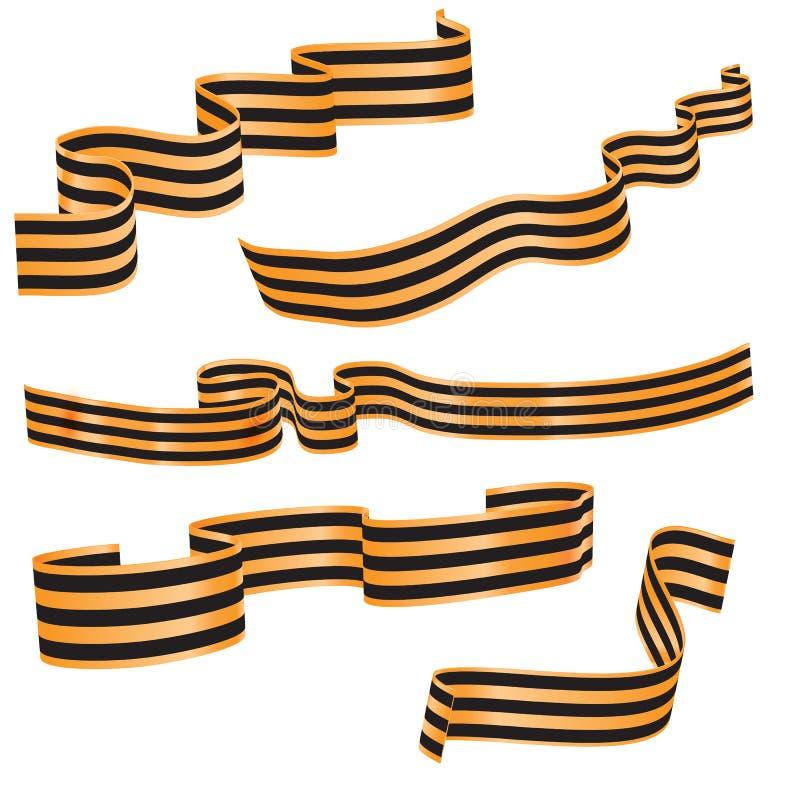 Set St George czerń i pomarańcze paskujący wyginał się faborek lub sztandar Symboli/lów faborki wielka patriotyczna wojna 40 zwal ilustracja wektor