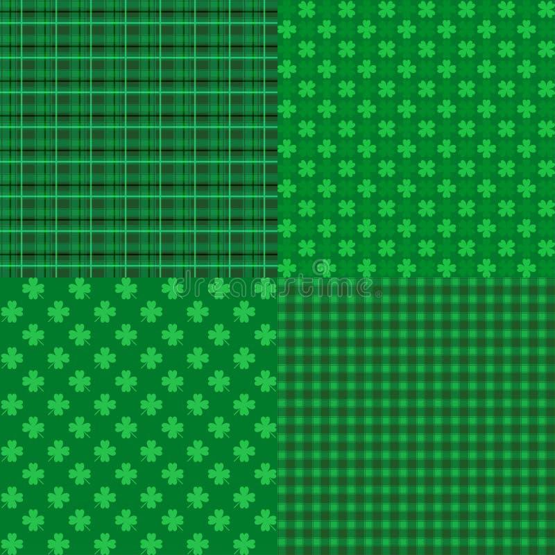 Set St Patrick dnia Bezszwowi wzory z koniczyną royalty ilustracja