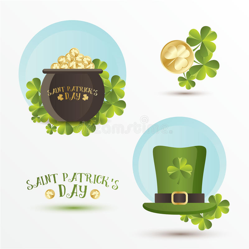 Set Of St Patricks Day Symbols In Trendy Flat Style Tradition