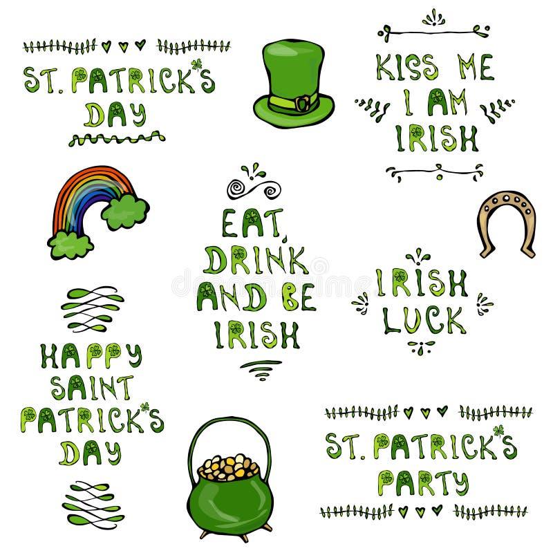 Set St Patricks dnia literowanie Z kapeluszem, podkową, garnkiem i tęczą, wektorowa ilustracyjna ręka rysująca Sabaudczyka Doodle ilustracji