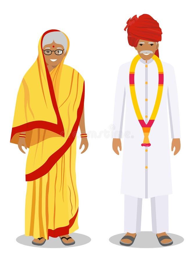 Set stać wpólnie starego indyjskiego mężczyzna i kobieta w tradycyjnej odzieży odizolowywającej na białym tle w mieszkaniu projek royalty ilustracja