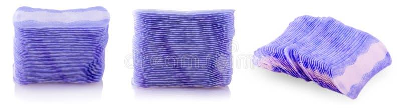 Set of stack of sanitary feminine napkins on white royalty free stock photo