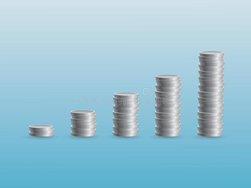 A set of stack silver coins in columns to show growth and success in business royalty free illustration