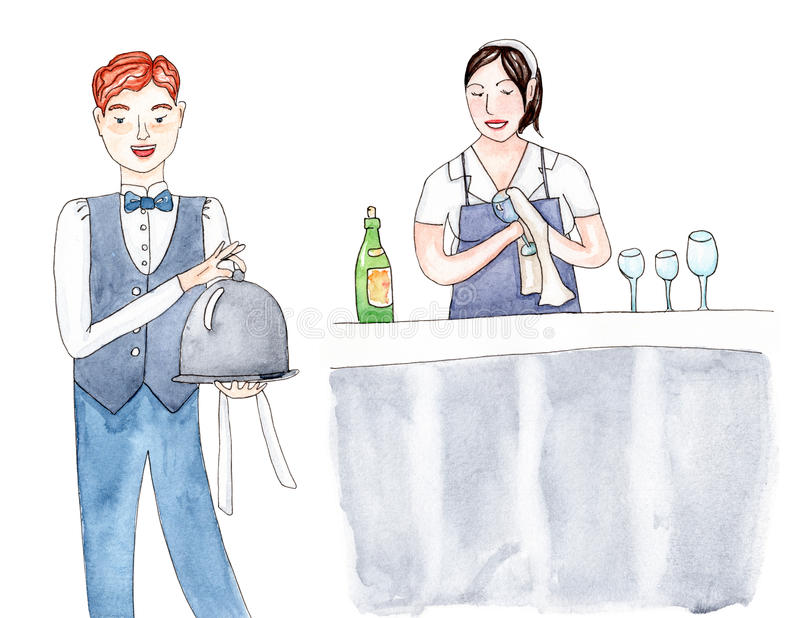Set of staff restaurant workers: professional waiter and girl bartender. royalty free illustration