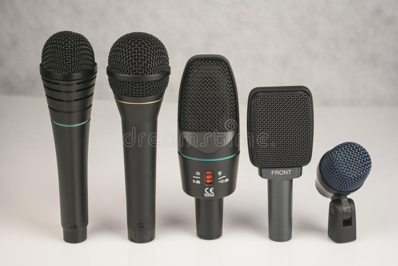 Set of stage microphones royalty free stock photos