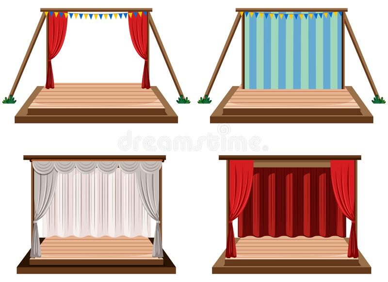 Set of stages white background vector illustration