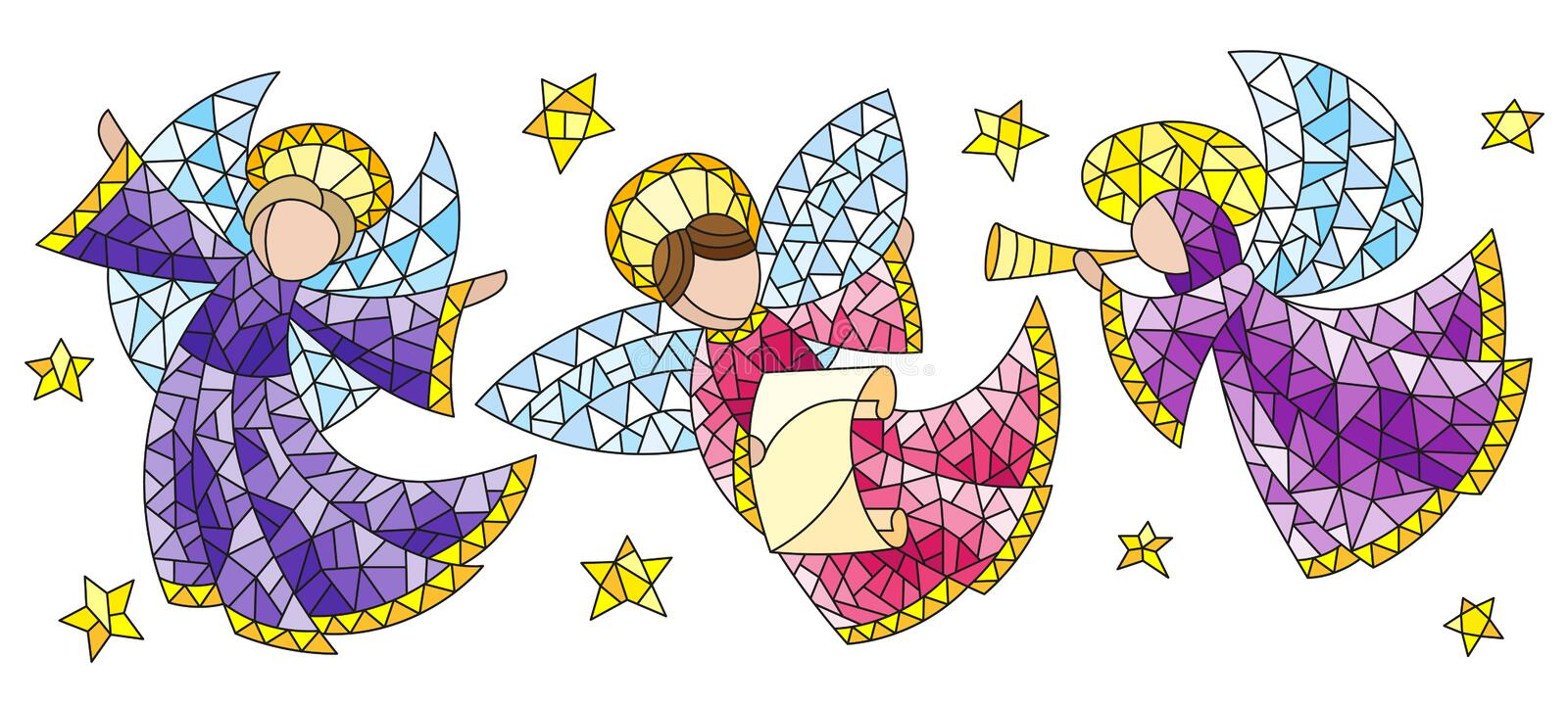 Stained glass set with angels and stars, coloured figures on a white background. A set of stained glass angels and stars, coloured figures on a white background stock illustration