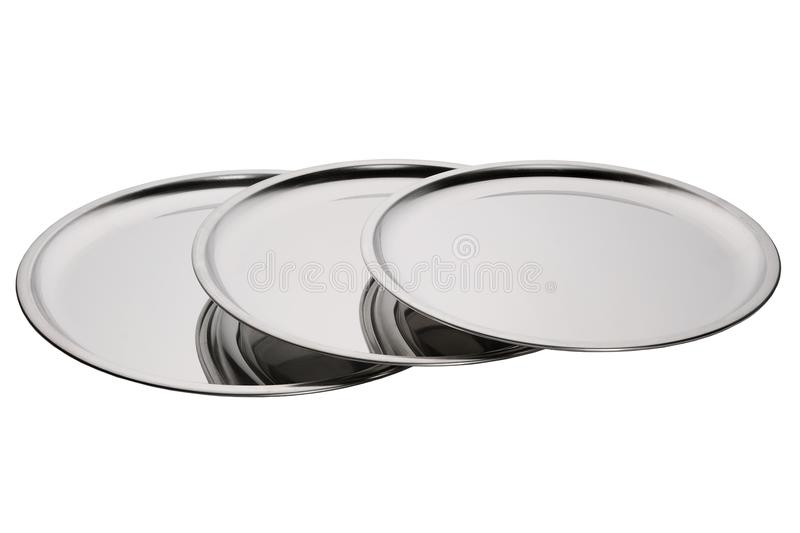 Set of stainless round trays. Empty silver serving trays. Set of stainless round trays on white background. Empty silver serving trays royalty free stock photo
