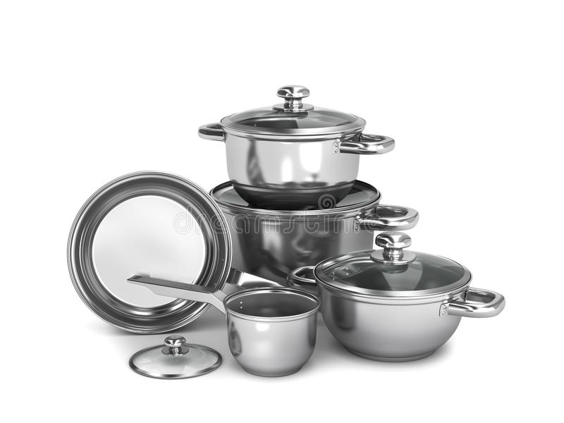 Set of stainless steel pots and pans isolated on white background. 3d illustration vector illustration
