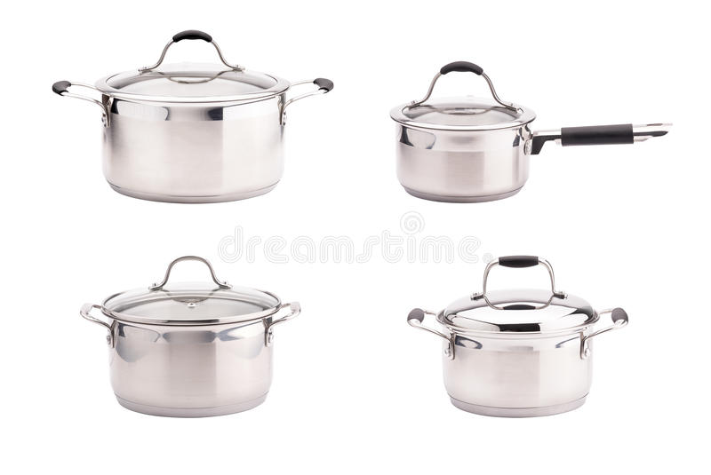 Set of stainless steel saucepans isolated on white background royalty free stock images
