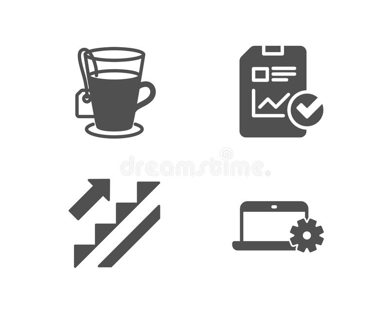 Stairs, Tea and Report checklist icons. Notebook service sign. Stairway, Glass mug, Sales growth file. stock illustration