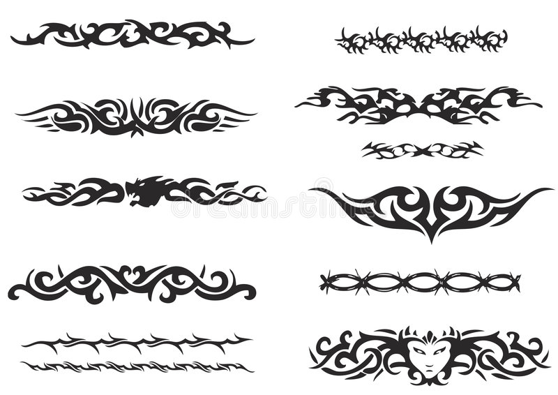 set stam- för armbindel stock illustrationer
