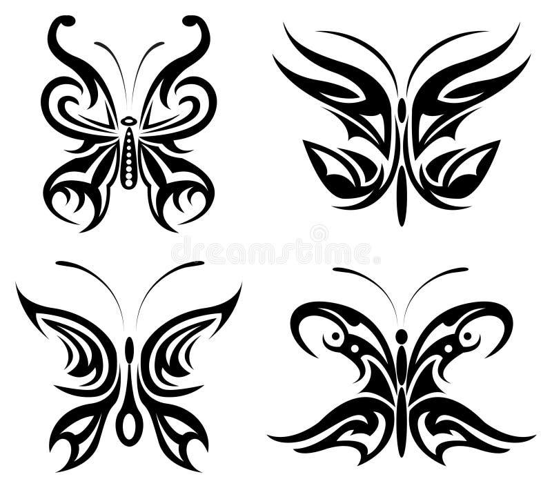 set stam- för fjäril vektor illustrationer