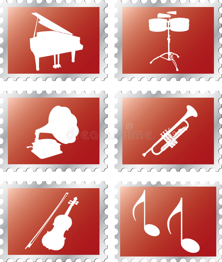 Set stamps - 95B. Music vector illustration