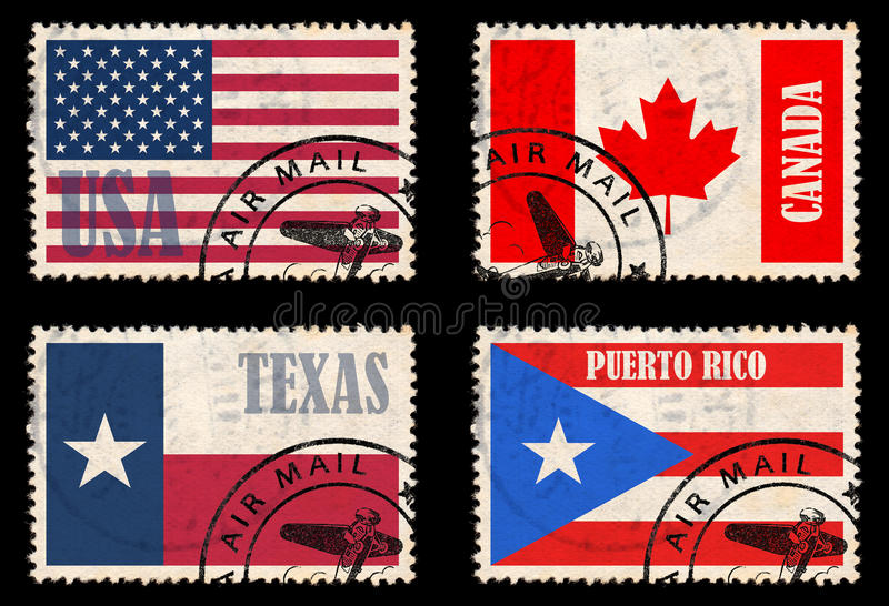 Set Of Stamps With Flags From North America Stock Images