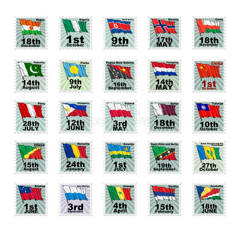 Set of stamps. With national flags. Volume 5 royalty free illustration