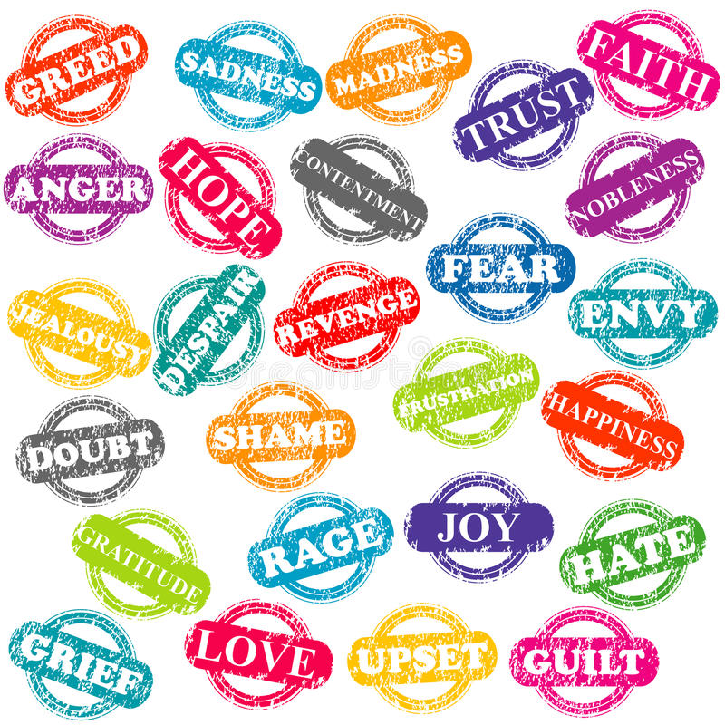 Download Set Of Stamps With Positive And Negative Emotions Stock Vector - Illustration: 32933375