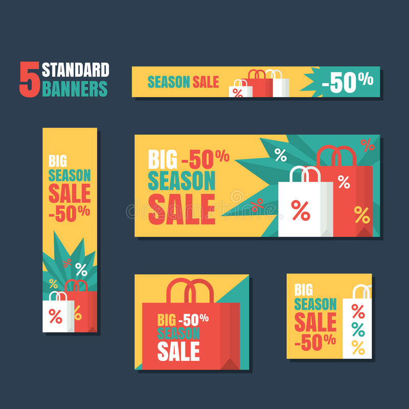 Set of standard vector banners template. Season sale background, flat colorful illustration. stock illustration