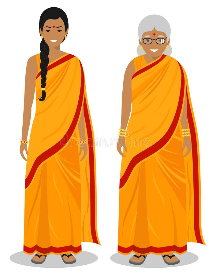 Set of standing together old and young indian woman in the traditional clothing isolated on white background in flat. Detailed illustration of standing old and vector illustration