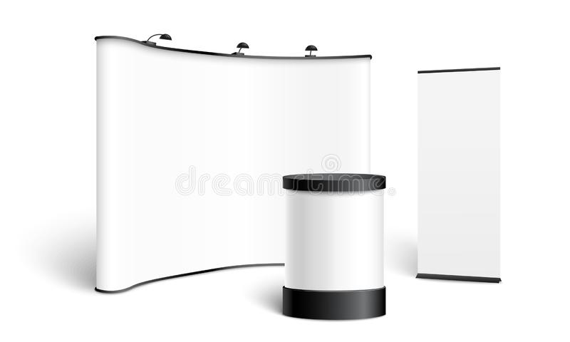 A set of stands, displays, pop up and roll up, template and mockup for banner. stock illustration