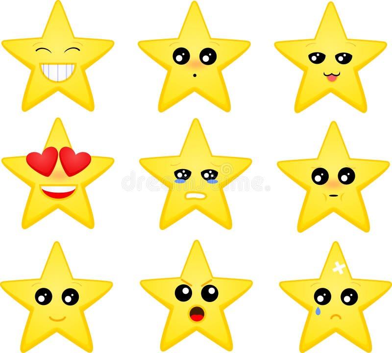 Set of star emoticons. Vector set of cartoon star emoticons vector illustration