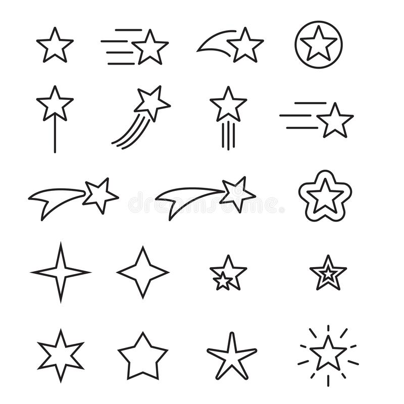 Set of star line icons. Simple pictograms pack. Stroke vector illustration on a white background. Modern outline style icons. Collection. Vector illustration royalty free illustration