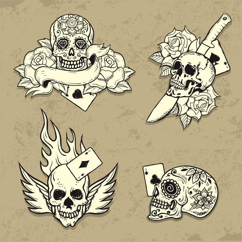 Set stara szkoła tatuażu elementy ilustracja wektor