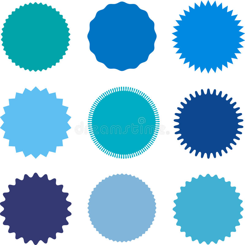 Set of starburst, sunburst badges, labels, stickers. Different shades of blue color. Simple flat style. Vintage, retro. Design elements. A collection of royalty free illustration