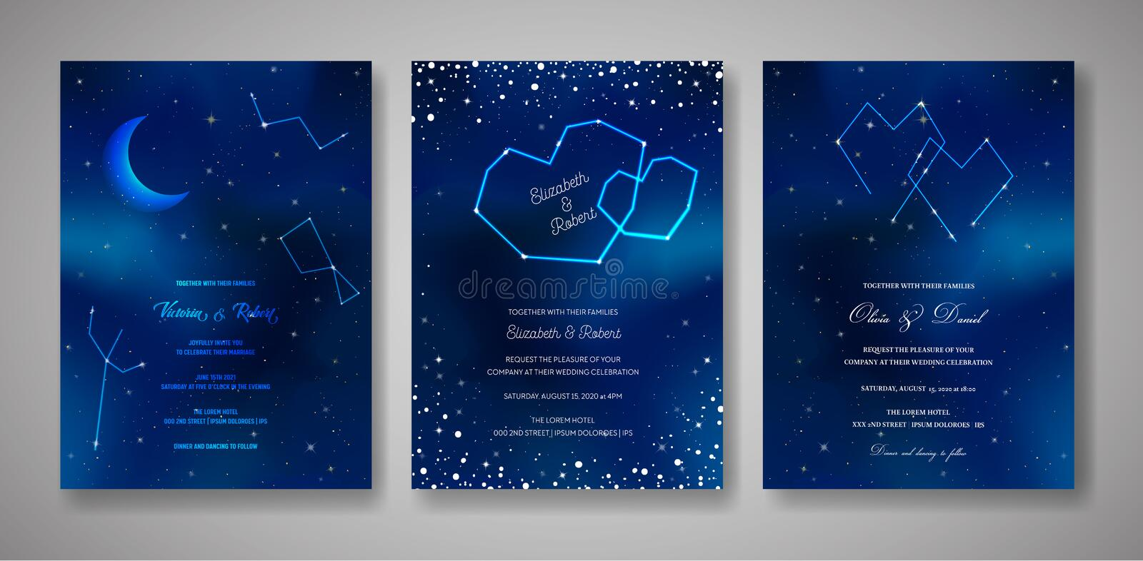 Set of Starry Night Wedding Invitation Cards, Save the Date Celestial Template of Galaxy, Space, Stars, trendy Sky vector illustration