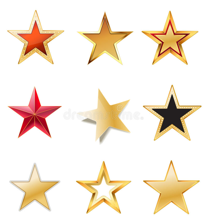 Set stars with gold royalty free illustration