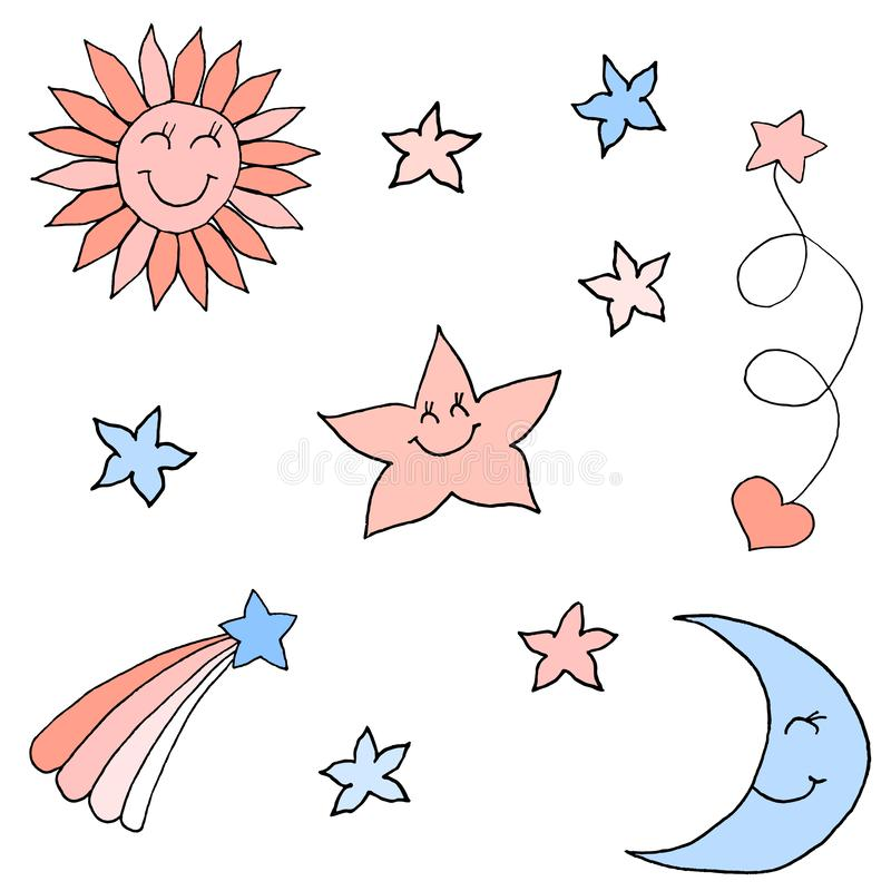 Set of stars in the sky. Colorful hand drawing sketch. Black outline on white background. Vector illustration stock illustration