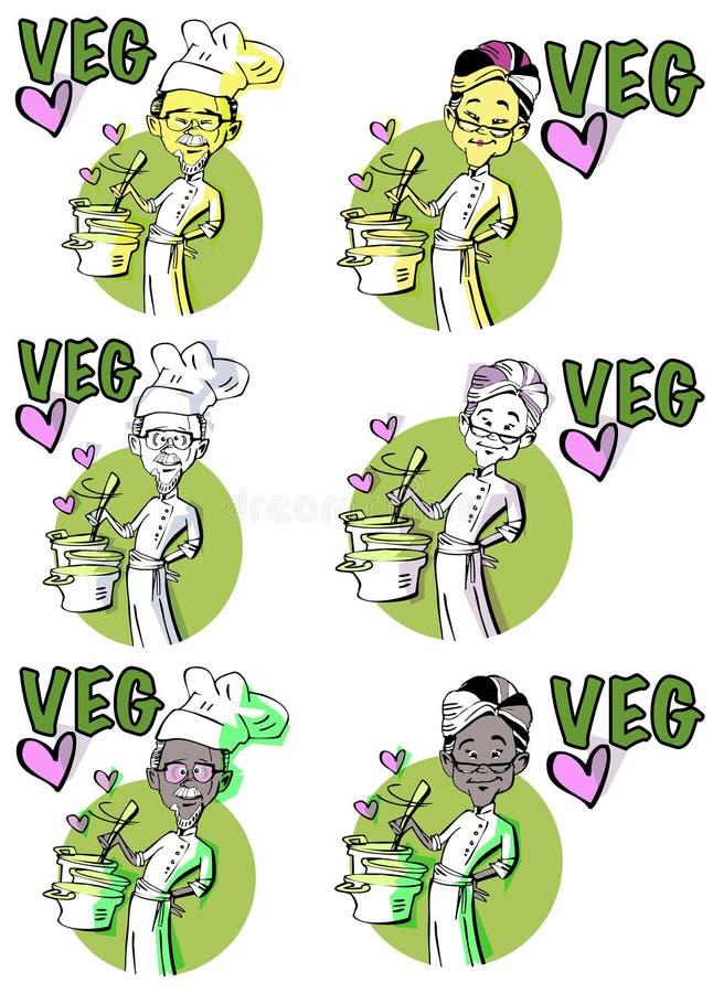 Set: Starszy jarski pary kucharstwo ilustracja wektor