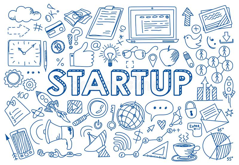 Set of startup concept icons in doodle style royalty free illustration