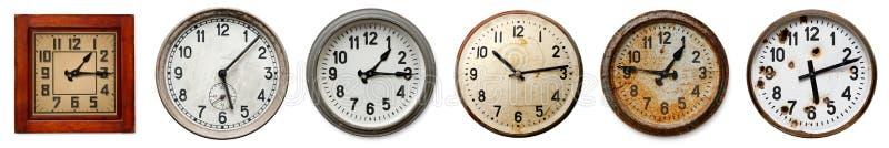 Set starzy ścienni zegary zdjęcie stock