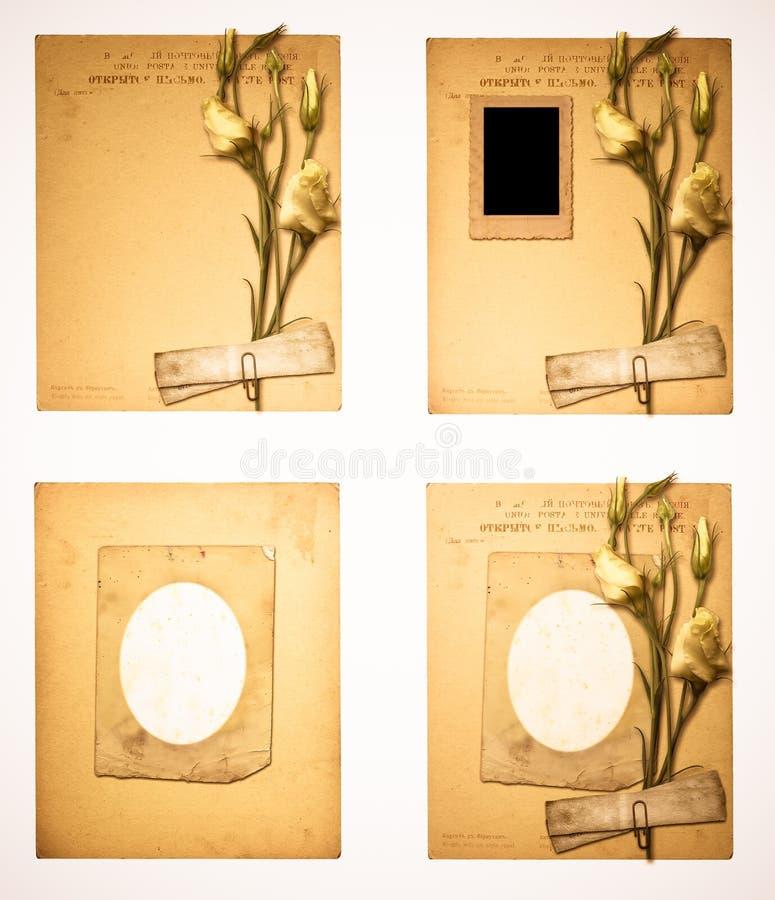 Set starzy archiwalni papiery i rocznik pocztówka z bukietem ilustracja wektor