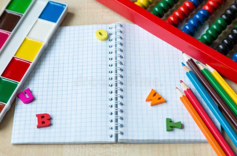 Set of stationery, globe, paints, pencils. Education royalty free stock photography