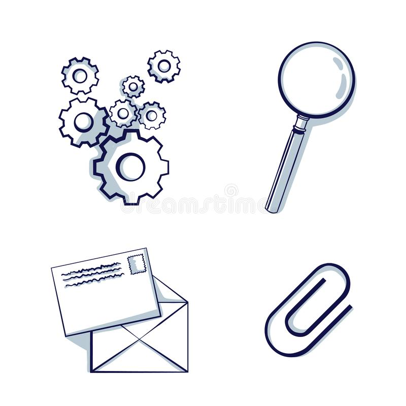 Set of Stationery icon. Gear, paper clip sign, magnifying Glass, email. stock illustration